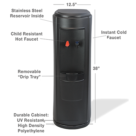 Standing Black Bottleless Water Cooler Details